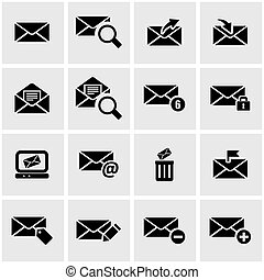 Vector black email icon set