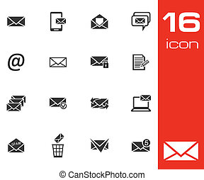 Vector black email icons set on white background