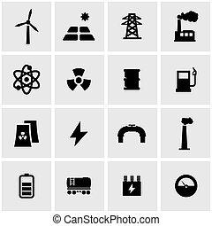 Vector black energetics icon set on grey background