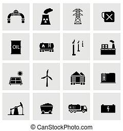 Vector black energetics icons set on grey background