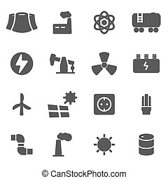 Vector black energetics icons set on white background