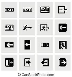 Vector black exit icon set on grey background