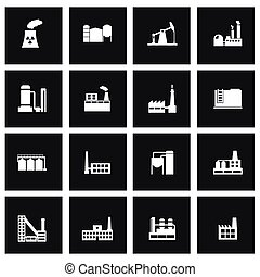 Vector black factory icon set on black background