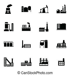 Vector black factory icons set