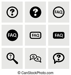 Vector black faq icon set on grey background