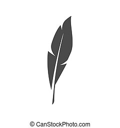 Vector black feather symbol on white background.