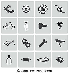 vector, black , fiets, deel, iconen, set