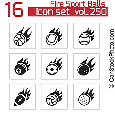 Vector black fire sport balls icons set
