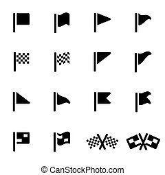 Vector black flag icons set