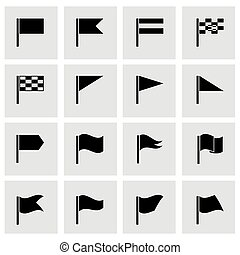 Vector black flags icon set on grey background