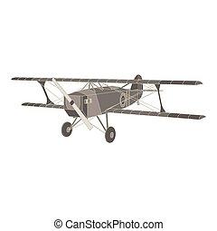 Vector black flat icon illustration of vintage biplane.