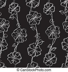 vector, black , floral, achtergrond, seamless