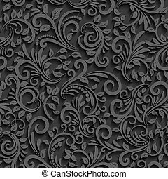 Vector black floral seamless pattern with shadow for invitation cards and decor
