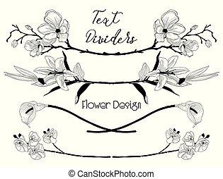 vector, black , floral, tekst, dividers., bloem, ontwerp onderdelen