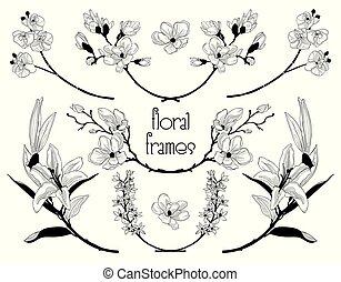 vector, black , floral, tekst, lijstjes, takken, laurels