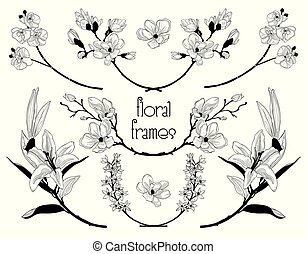 Vector Black Floral Text Frames, Branches, Laurels