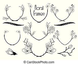 Vector Black Floral Text Frames, Branches, Laurels