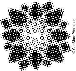 Vector black flower, dotted design, spring and summer symbol