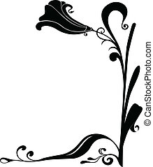Vector flower frame for corners. Flower with leafs