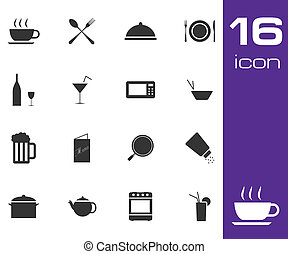 Vector black food  icon set on white background