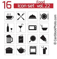 Vector black food icon set