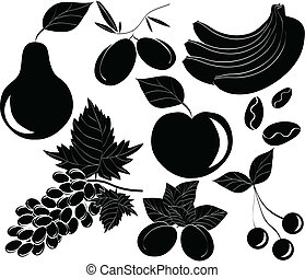 vector black food icons set - isolated on white