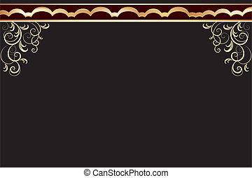 vector black frame with golden patt