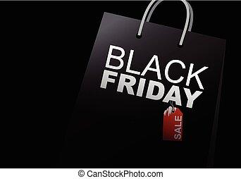 Vector black friday sale design of shopping bag on white background