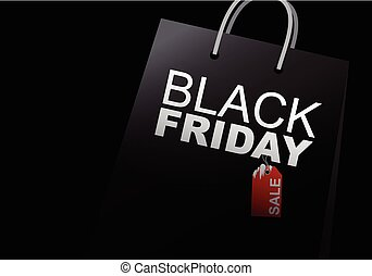 Vector black friday sale design of shopping bag on white background