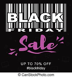 Vector Black Friday Sale promotional banner template with stylized barcode.