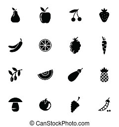 Vector black fruits and vegetables icons set on white...