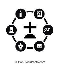 Vector black funeral icon set