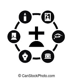 Vector black funeral icon set