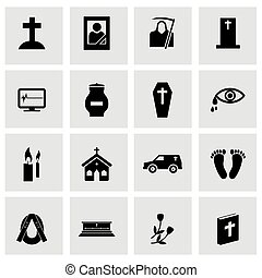Vector black funeral icons set on grey background
