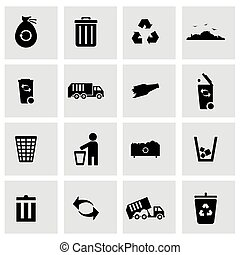 Vector black garbage icons set