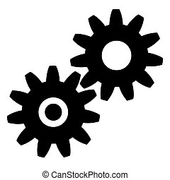 vector black gears icon on white background. eps 10