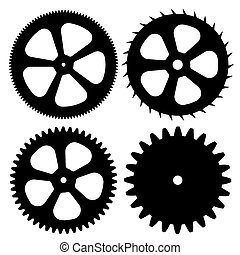 Vector black gears on white background.