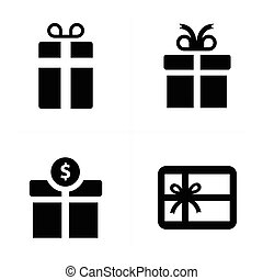 vector black gift icons