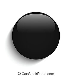 Black Glass Circle Button on White Background