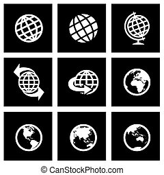Vector black globe icon set