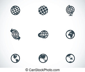 Vector black globe icons set