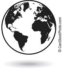Vector Black Globe world map