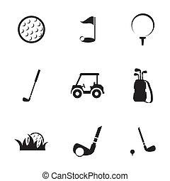 Vector black golf icons set on white background