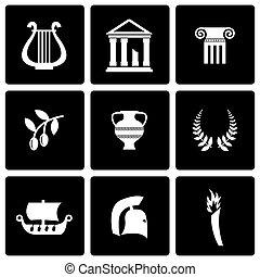 Vector black greece icon set