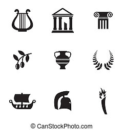 Vector black greece icons set on white background