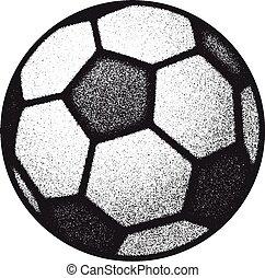 vector black grunge soccer ball on white