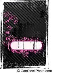 Vector black grunge wallpaper - Vector grunge floral...