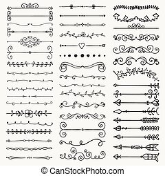 Vector Black Hand Drawn Dividers, Arrows, Swirls - Set of...