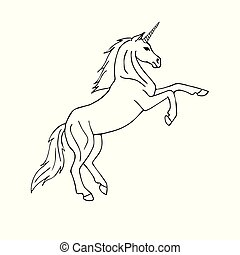 Vector black hand drawn doodle sketch unicorn on white background