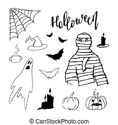 Vector black hand drawn Halloween icon set isolated on white background